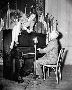 Actress Lauren Bacall & President Harry Truman - he was quite the piano player!