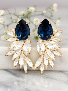 Blue Navy Earrings Bridal Navy Blue Earrings Swarovski by iloniti Navy Earrings, Statement Earrings, Stud Earrings, Crystal Earrings, Diamond Earrings, Blue Bridal, Wedding Blue, Wedding Earrings, Wedding Jewelry