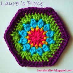 #Crochet hexie free pattern from Laurel's Place