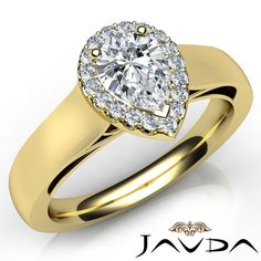 Pear Cut Diamond Engagement GIA F VVS2 18K Yellow Gold Halo Pave Set Ring 0 91ct | eBay