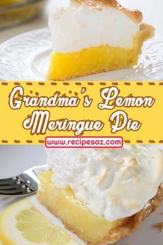 Grandma's Lemon Meringue Pie Recipe , Ingredients and detailed directions brought to you by Recipes A to Z Lemon Marange Pie, Grandma's Lemon Meringue Pie Recipe, Lime Meringue Pie, Lemon Desserts, Köstliche Desserts, Delicious Desserts, Dessert Recipes, Easy Pie Recipes, Lemon Pie Recipes