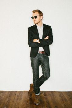 Blazer: H -(similar)Shirt: AllSaints micro gingham shirt - (outlet!)Jeans: Levi's 511 - (Buffalo Exchange)Boots: John Varvatos Sid Chukka - (similar)Sunglasses -Ray Ban Clubmaster