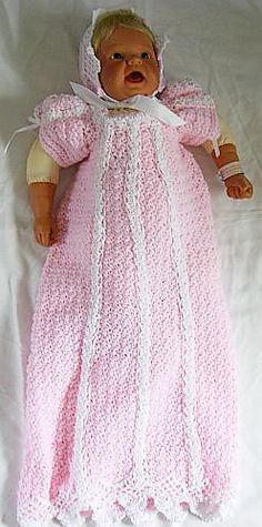 Ravelry: Pink Christening Gown Set pattern by Donna Collinsworth