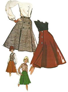 1960s  McCalls 7015 Misses Wrap Around  Coachman Skirt Double Breasted Vest and Blouse womens vintage sewing pattern by mbchills