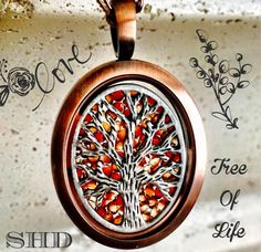 Rose Gold #vintage locket with the red magma screen and tree of life. So lovely!