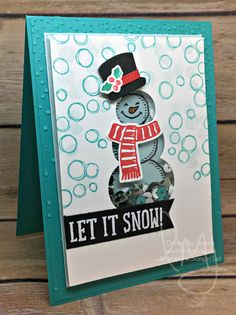 Shaker Sequins Snowman | Stampin\' Up! | Playful Backgrounds | Snow Place | TGIF Challenges #TGIFC86 #literallymyjoy #snowman #snow #sequins #shakercard #letitsnow #winter #christmas #holiday #20162017AnnualCatalog