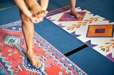 stephaniemaxwell:  These are amazing! Hand-painted designs on yoga mats. I can't decide if I like the oriental or southwestern design better.