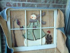 Vintage window that I painted with a Terrye French Snowlady