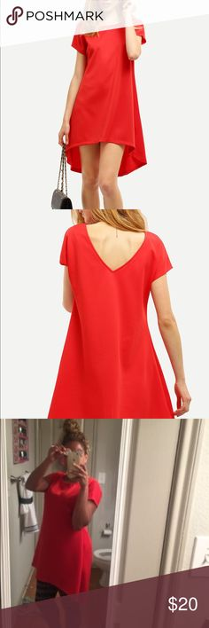 Red V Cut Back High Low Dress Red v cut back high low dress. Material: polyester. 92cm bust, 96cm long. Dresses High Low