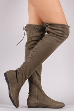 These comfy boots feature a round toe silhouette, soft vegan suede with back corseting lace-up design, and slight flat heel. Finished with a cushioned insole, smooth lining, and side zipper closure fo