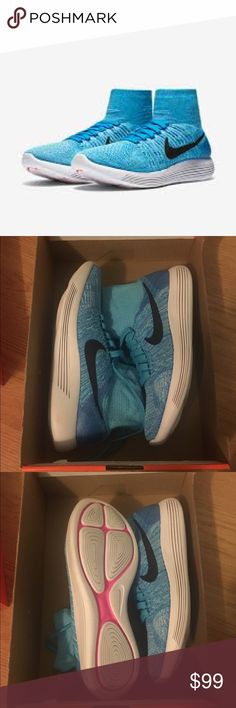 NEW Women's Nike Lunarepic Flyknit Brand New! Never worn women's Nike Gamma Blue shoes. My favorite pair of Nikes ever! No trades 100% authentic. Make an offer! Nike Shoes Athletic Shoes