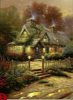 """Thomas Kinkade """"TEACUP COTTAGE"""" Boxless Puzzle FLORAL HOME NATURE House  #Ceaco"""