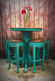 AVAILABLE Turquoise Rustic Boho Bar Height Table w/ French #affiliate #paintedfurniture