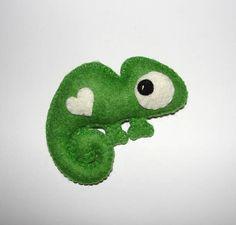 Wool Felt Chameleon Ornament Green Chameleon Wall Decor