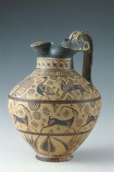 Wild Goat style pitcher.Dated about 625–600 B.C. Dimensions Height: 28.4 cm (11 3/16 in.); diameter: 23.2 cm (9 1/8 in.) Medium Ceramic Collections The Ancient World Classifications Vessels Culture Greek Period Orientalizing Period