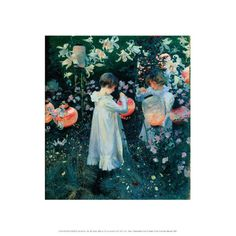 Mini print featuring 'Carnation Lily Lily Rose' by John Singer Sargent. <br><br>Our mini prints include a white border and title. <br><br>This painting is set in a garden in the Cotswolds village of Broadway, where John Singer Sargent stayed in the summer of 1885. The children lighting Japanese lanterns with tapers are Dolly (left) and Polly Barnard. Their  father was the illustrator Frederick Barnard - a friend of Sargent's.Sargent wanted to capture the exact level of light at dusk so he…