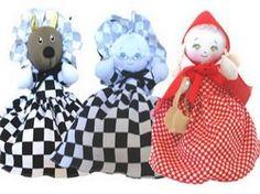 Boneca de pano -  Boneca Chapeuzinho Vermelho  que se transforma em Lobo Mau e Vovozinha. É a história completa em apenas uma boneca - atendimento@bonecadepano.com.br