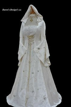 Ivory Medieval Renaissance Hooded Wedding Dress Pagan, Dawns Medieval Dresses