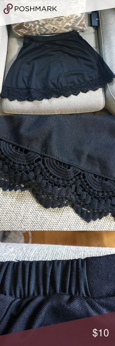 Lace Trimmed Skirt Lace Trimmed Mini Skirt. Elastic in back makes for perfect fit. LA Hearts (PacSun) LA Hearts Skirts Mini