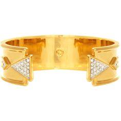 House of Harlow 1960 Gold-Tone Contemporary Cuff ($39) ❤ liked on Polyvore featuring jewelry, bracelets, gold, gold tone jewelry, cuff jewelry, cuff bangle bracelet, gold tone cuff bracelet and cuff bangle