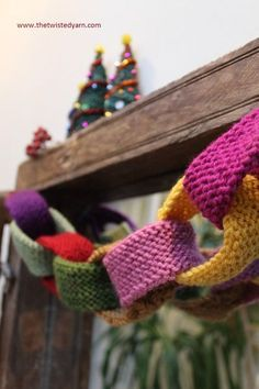 happy knitted paper chain