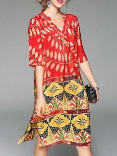 cae2281e9cf Red Half Sleeve V Neck Leaf Print Dress