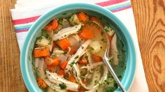 Canned chicken soup has nothing on this delicious chicken soup recipe from Martha Stewart. Chicken and hearty vegetables come together to make a chicken soup the whole family will love. It's sure to become one of your go-to chicken soup recipes on cold da Hearty Chicken Soup, Chicken Soup Recipes, Canned Chicken, Recipe Chicken, Veg Soup, Chicken Soups, Turkey Recipes, Martha Stewart Cooking School, Great Recipes