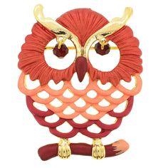 Red Owl Swarovski Crystal Pin Brooch