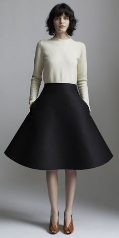 OFF WHITE FELTED MERINO WOOL SWEATER, BLACK WOOL SILK MIKADO SKIRT, CÉLINE SPRING 2014