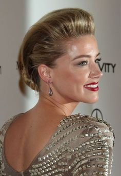 Amber Heards dramatic, updo hairstyle