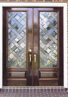 Wood with leaded glass - frosted and rippled