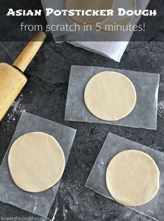 How To Make Amazing Asian Potsticker Dough in 5 Minutes. My favorite from scratch go to is the Asian Potsticker dough. Once you make it, you will be looking (Sushi Ingredients Homemade) Dumpling Dough, Pasta Casera, Asian Recipes, Ethnic Recipes, Healthy Recipes, Asian Cooking, Mets, International Recipes, Appetizer Recipes