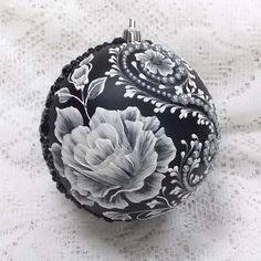 Black Ornament with 3D White  MUD Roses (L) with Pearl Bling 370 by MargotTheMUDLady on Etsy SOLD!