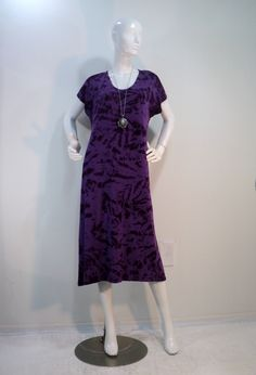 7c0008c7f3a Sizes M   XL purple tie dye nightgown sleep dress lounger in bamboo cotton