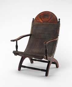 Campeche Chair | America, 1800-1810 | Mahogany and mahogany veneer, light and dark wood inlay, and leather