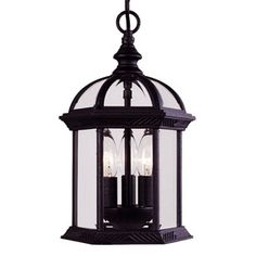 �13-3/4-in Textured Black Outdoor Pendant Light for Front EntryWay from Lowes