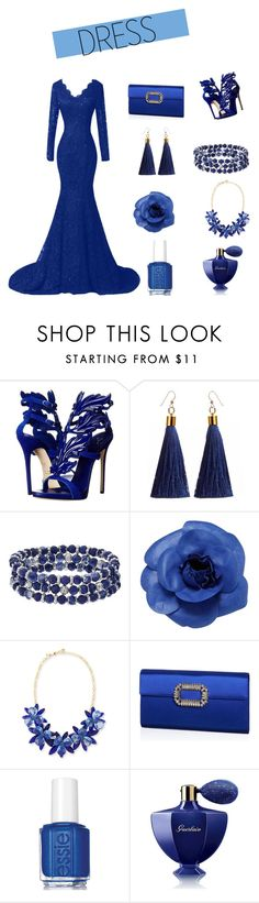 """""""girl in blue ~"""" by gabriella-evelyn ❤ liked on Polyvore featuring Giuseppe Zanotti, Chaps, Chanel, Kate Spade, Roger Vivier, Essie and Guerlain"""