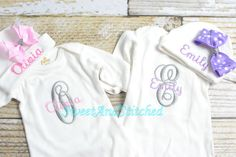 Personalized baby girl newborn gown or by SweetAndStitched on Etsy