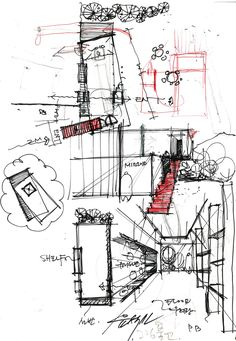 Gallery of Jung Gil-Young Gallery / Yoon Space Design - 19 Architecture Concept Diagram, Architecture Sketchbook, Architecture Plan, Architecture Details, Container Architecture, Conceptual Sketches, Schematic Design, Construction Drawings, Interior Sketch