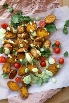 Paprika & Cumin Roasted New Potatoes with Coriander Aioli | Delicious crispy potatoes with a creamy vegan aioli. Paleo, gluten free, dairy free.