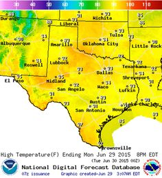 Good Monday Morning! Head on over to our website for this morning's Texas Weather Roundup and all the graphics at http://texasstormchasers.com/?p=38596.   After the northern half of Texas experienced a 'drier' heat this past weekend we're heading back into our usual summer weather pattern. Humid and hot conditions will be the name of the game this week with the same usual weather every day this week. Isolated to widely scattered thunderstorms are expected to develop this af