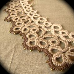 Tatted Studded Lace Choker The Other Woman Sepia by TotusMel