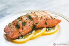 Grilled Salmon with Dill Butter on Simply Recipes ~ A little butter with dill is all you need to serve, with a few slices of lemon. Perfect!
