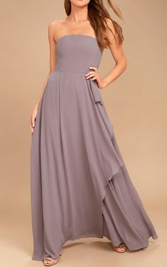 Some smooches are sure to come your way in the Sweetest Kiss Taupe Strapless Maxi Dress! Stunning, strapless maxi dress with a ruffled skirt. Best Maxi Dresses, Cute Prom Dresses, Beautiful Prom Dresses, Blue Bridesmaid Dresses, Bride Dresses, Bridesmaids, Strapless Sweetheart Neckline, Strapless Maxi, Strapless Dress Formal