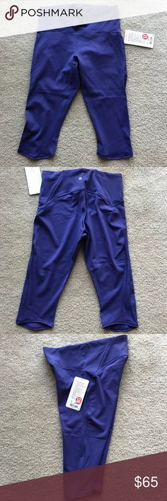 Lululemon Train Times Crop Pant Purple Lululemon Crop Pant with mesh side lululemon athletica Pants Capris