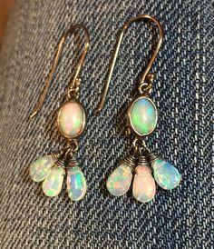 Ethiopian Opal Earrings Welo Opal Oxidized Sterling by kabyco #opalsaustralia