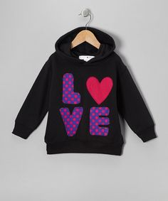 Take a look at this Black & Purple 'Love' Hoodie - Toddler & Kids by little bits on #zulily today!27