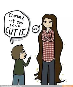 Okay I know this is supposed to be about the length of Sam's hair... but can we all just take a moment to appreciate how short the artist made Dean and how tall they made Sam?