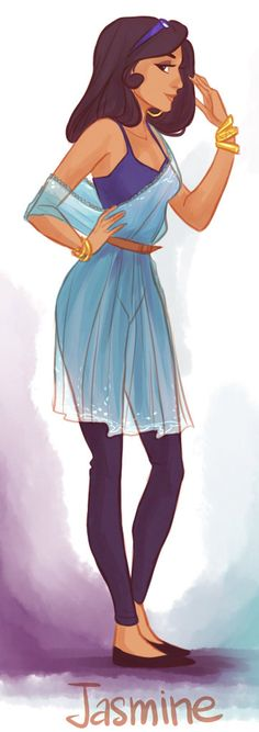 Check out more of these fashionable Disney princesses with hipster flair. Jasmine knows how to work a sheer dress. Illustration by Victoria Ridzel