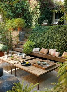 Recycled wood bench seat along wall.